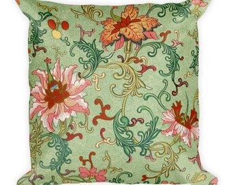 Floral Print Square Pillow, Oriental Design, 18 inches by 18 inches