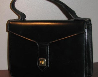 SAKS FIFTH AVENUE France Black Leather Kelly Bag // 60's Accordion Purse Handbag Pin Up Structured Gold