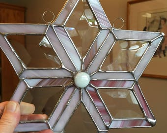 pink stained glass snowflake