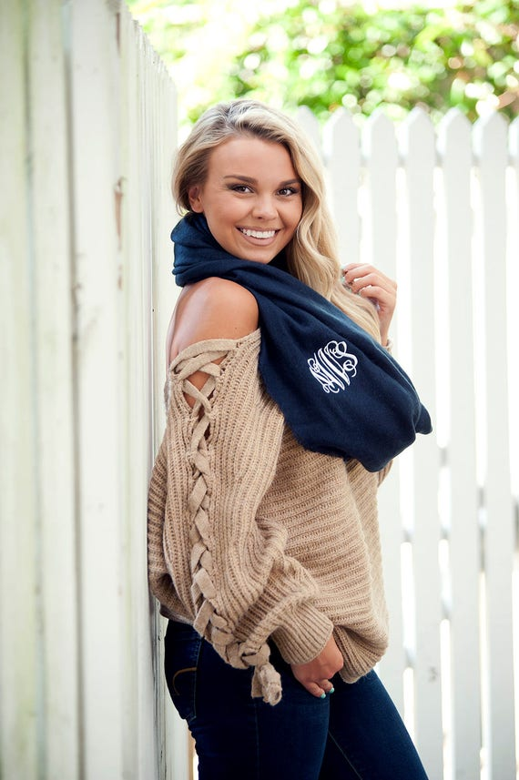 Monogrammed Infinity Scarf - Navy