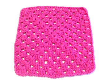 Hot Pink Crocheted Square Dish Cloth
