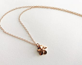 Rose Gold Plumeria Necklace