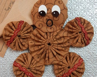 Gingerbread Yo Yo  Ornament with Red and Gold Ric Rac - Gingerbread Cookie GB57
