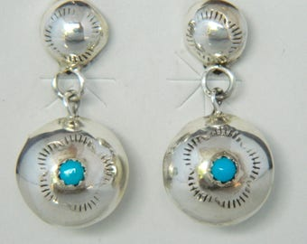 Native American Navajo Turquoise Sterling Silver Double Concho Pillow Earrings - Shirley Johnson