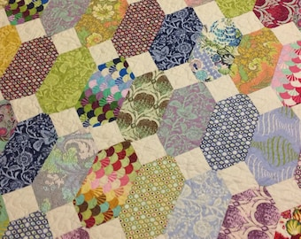 Parisville Lap or Baby Quilt -purple, blue, pink, green, white---pattern also available