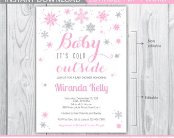 winter baby shower invitation / snowflake baby shower invitation / baby its cold outside invitation / baby its cold outside baby shower