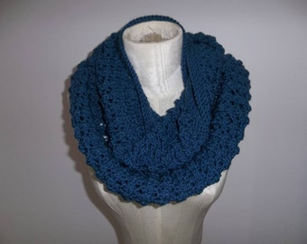 Knit Scarf, Knit Infinity Scarf, Blue Infinity Scarf, Knitted Circle Scarf, Lacy Knit Infinity Scarf, Hand Knit Scarf, Winter Accessory