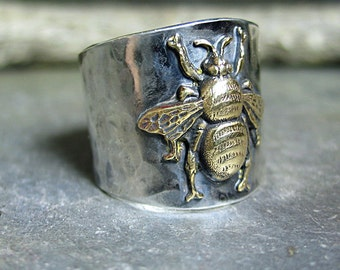 Bee ring bumblebee honeybee insect sterling silver wide band ring - The Garden Bee Ring
