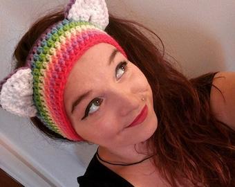 Crochet Rainbow Kitty Ear Warmers