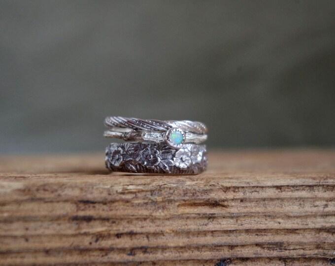 Opal Ring Set Stacking Rings Ring Floral Gemstone Silver Rings October Birthstone