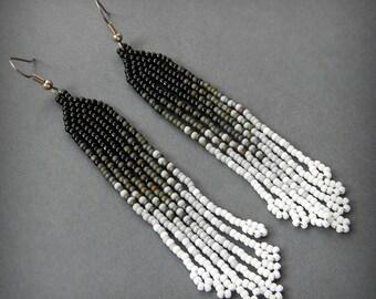 Ombre beaded fringe earrings Seed bead dangle earrings Black Gray White long beaded earrings Stylish jewelry Bohemian earrings Boho Beadwork