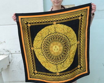 Hermes style scarf baroque scarf Royal print scarf yellow black shawl Square Silk Scarf Scarves for women Floral Print Scarf Spring Fashion