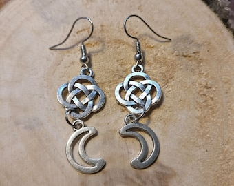 Earrings Celtic Knot and Moon
