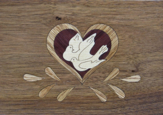 """4""""x 5"""" Marquetry Project Kit - Lovebirds"""