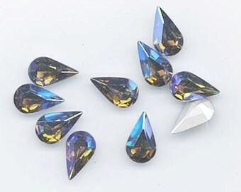 12 dazzling vintage Swarovski crystal stones - art 308 - 7.8 x 13 mm - starlight/silver