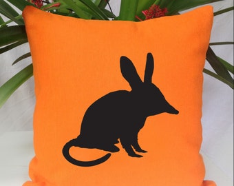 Bilby Silhouette Orange Cushion Cover Free Shipping Australia Wide.