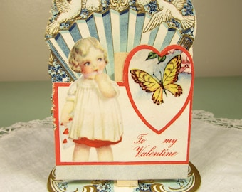 Blond Hair Girl Valentine Card - Vintage Doves Butterfly Stand Up Embossed