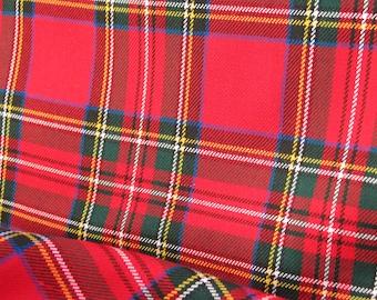 Royal Stewart, Royal Stewart Tartan Fabric, Red Plaid Fabric, Royal Stewart Tartan Fabric By Yard, Red Royal Stewart Tartan Suiting Fabric