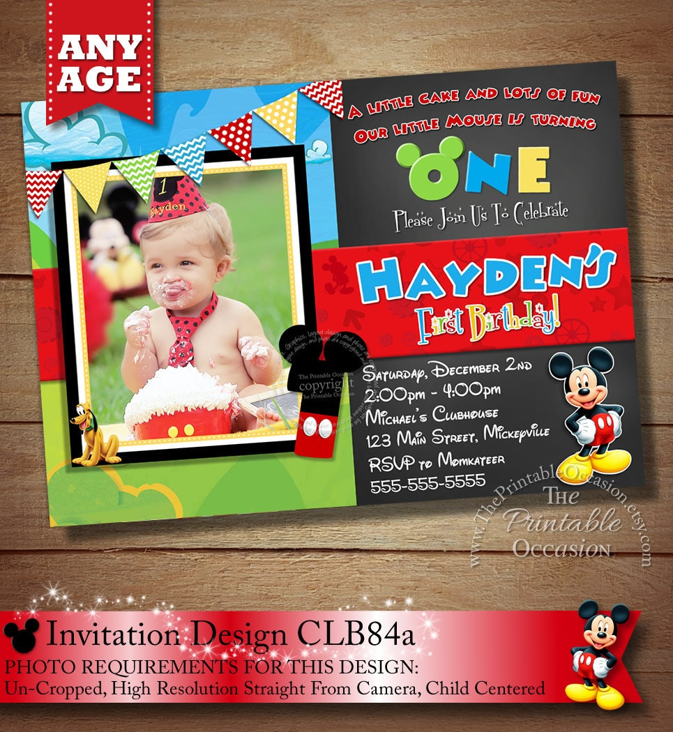 HUGE SELECTION Mickey Mouse Invitation Chalkboard Invitation