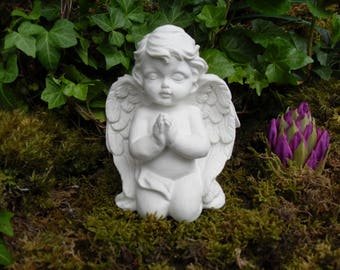Angel Statue,Praying Angel,Praying Girl Boy Angel,Child Garden Statue,Child Memorial,Praying Cherub Statue,Cement