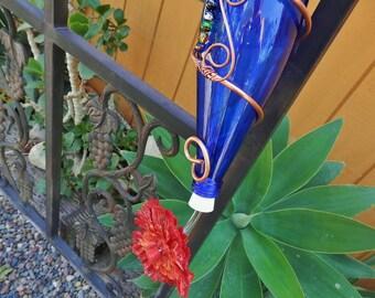 Pretty Hummingbird Feeder,..Upcycled Colbalt Blue Glass Bottle
