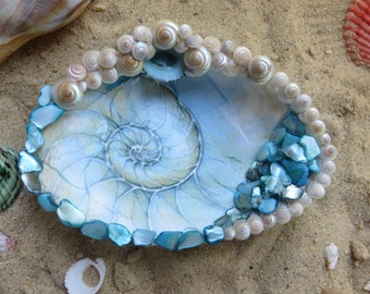 Beach decor seashell dish_beach wedding ring dish