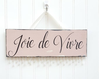 "Aged Sophistication - ""Joie de  Vivre"" vintage beaded sign"