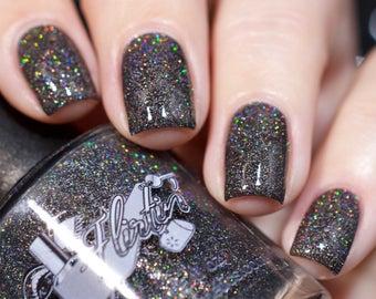 Nail polish, Indie polish - Kiss at Midnight, black glitter