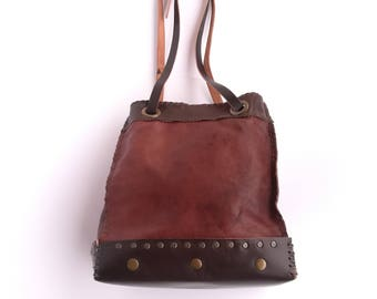 Bag, bag, shoulder bag, leather bucket burgundy dark brown, leather bag