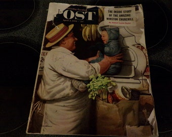 Saturday evening Post April 5, 1952 full magazine, 1950's magazine, collectible magazine, 1950's prop