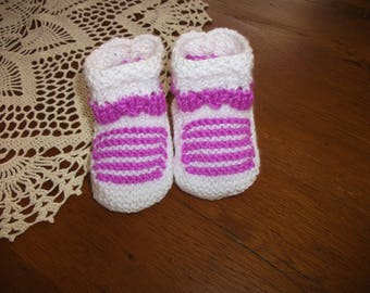 Baby booties 3/6 months or a great reborn - white / lilac.