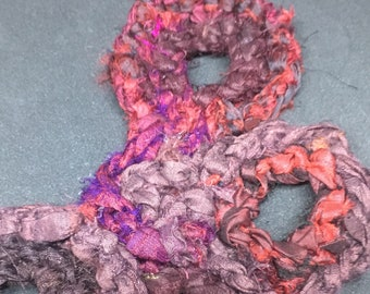 Whimsical asymmetrical sari silk statement necklace in burgundy and charcoal