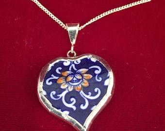 Broken China Heart Pendant -- #30,057