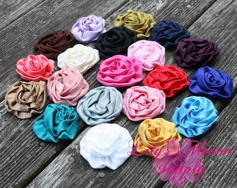 Large Satin Rolled Rosettes - Wholesale Flowers - Satin Flower - Satin Rosette - Rosette -Fabric Flower - Rolled Rosettes - You  Pick Colors