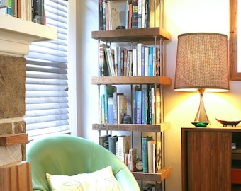 reclaimed wood shelving from reclaimed old growth wood and recycled content steel - bookcase - shelves - modern industrial
