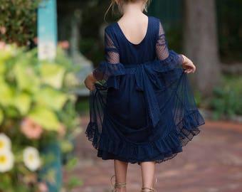 Navy blue flower girl dress, flower girl dresses, Rustic flower girl dress, lace flower girl dress, country lace dress, toddler dress baby