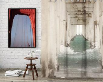 Ocean Shower Curtain for Beach Bathroom Decor