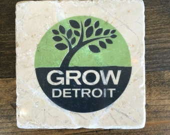 Grow Detroit Coaster with cork backing