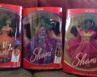Shani, Asha, Nichelle - mattel dolls-NIB- 1991- vintage