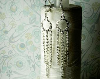 HALF PRICE SALE - Vegas Baby Vegas - chandelier earrings / long earrings / earrings / fringe earrings / statement earrings / silver earrings