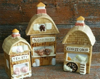 Vintage Ceramic Rustic Barn Canister Set, Ceramic Sugar, Coffee, And Tea Canister Set