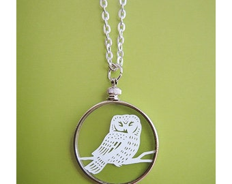 Papercut Owl Necklace- Original Handcut Paper in Glass Pendants with Silver Chain