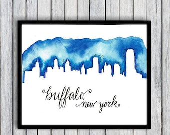 Buffalo Print, Buffalo Skyline, Buffalo Gifts, Buffalo Watercolor, Cityscape Art, Buffalo Skyline, Buffalo Art, Buffalo