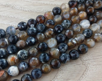 8mm Agate Beads, Brown Agate, Gemstone Beads, Full Strand, Faceted Beads, Dragons Vein Agate, Stone Beads, S110b