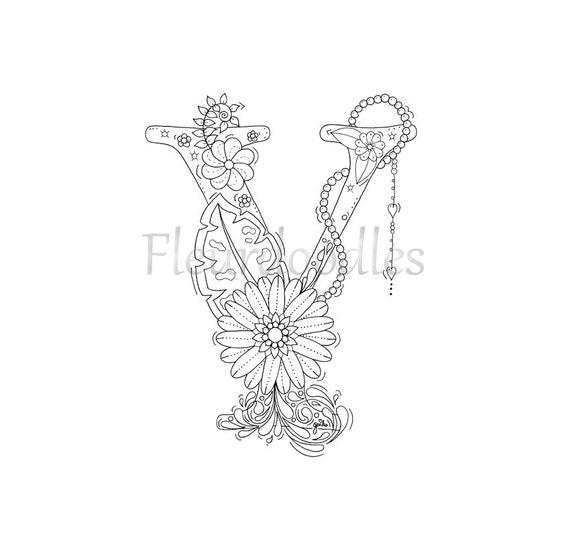 Malseite zum Ausdrucken Buchstabe Y floral