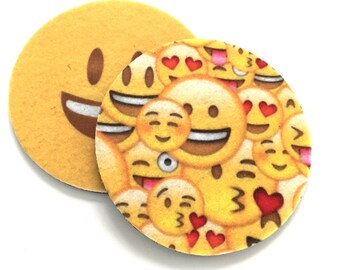 Smiling Face Emoji car coasters - Makes a great gift - Two Smiling face car coasters for your cup holder - Free Shipping