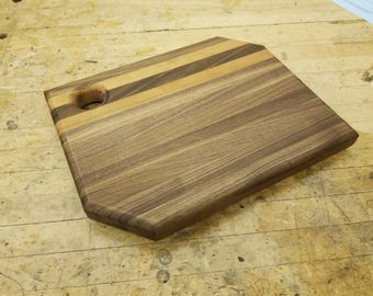 Wooden Butcher Block with Walnut and Cherry Edge Grain Cutting Board