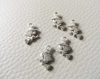 Pendants witch on her broom in antique silver set