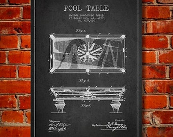 1889 Pool Table Patent, Canvas Print,  Wall Art, Home Decor, Gift Idea