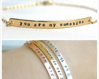 Gold bar bracelet, Custom bar bracelet, Personalized name, message, date,coordinates, Girlfriend gift, Minimalist bar bracelet,  Gold filled